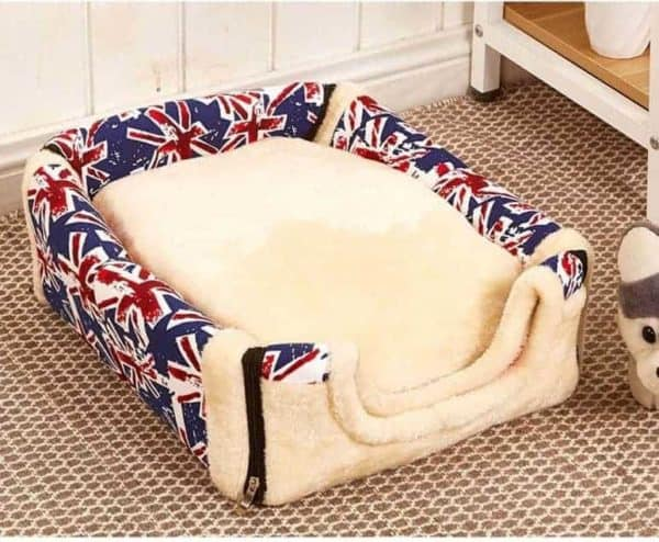 Dog Kennel House Bed Blue with Flags
