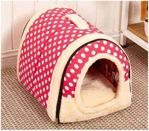 Dog Kennel House Bed Red with Spots