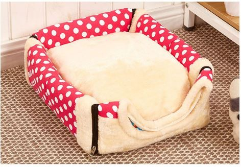 Dog Kennel House Bed Red with Spots - Base