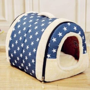 Dog Kennel House Bed Blue with Stars