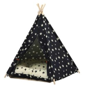 Dog Teepee Bed with Cushion Stars Pattern DoggypetShop