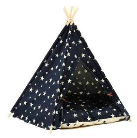 Dog Teepee Bed with Cushion Stars Pattern - Side