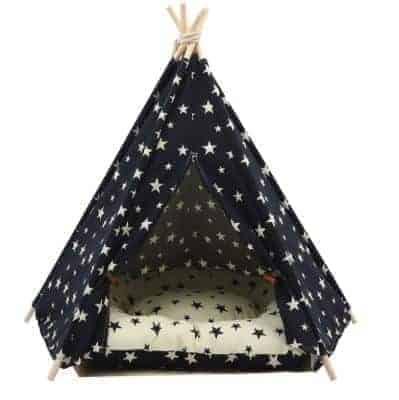 Dog Teepee Bed with Cushion Stars Pattern - Front