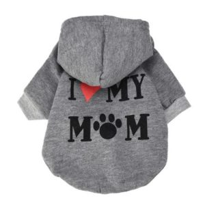 Cute 'I Love My Mom' Slogan Dog Hoodie Jumper - Grey