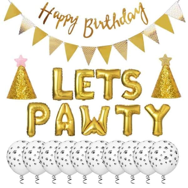 'Let's Pawty' Dog Party Accessory Kit - Gold