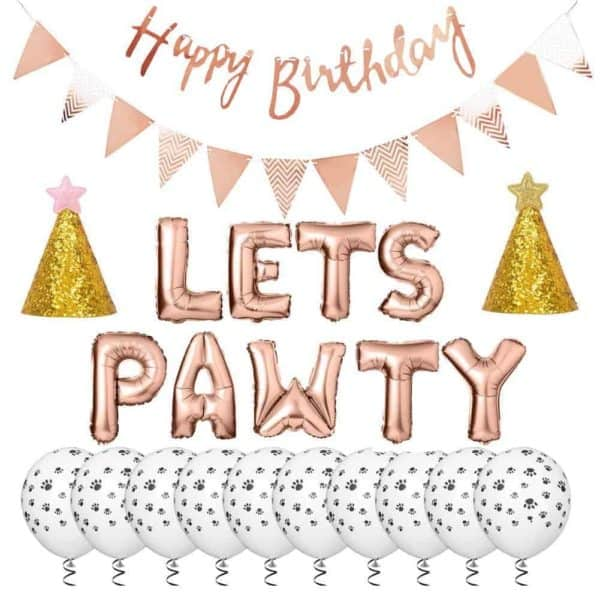 'Let's Pawty' Dog Party Accessory Kit - Rose Gold