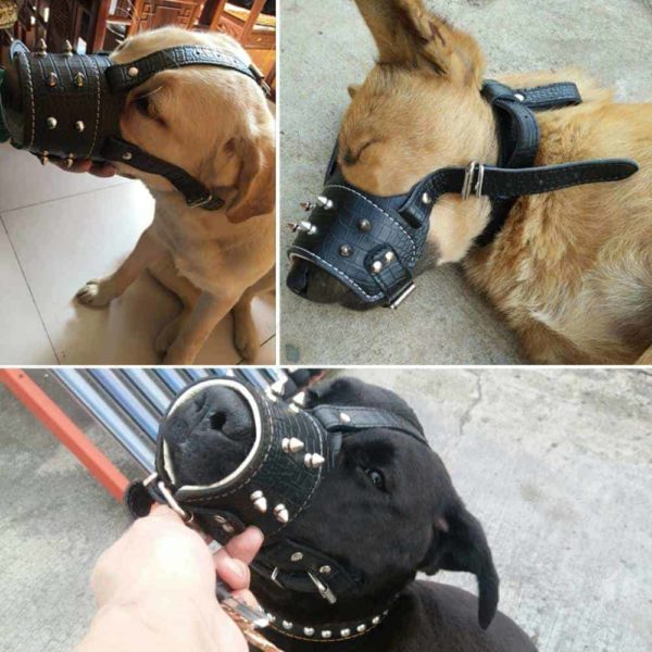 Cool Spiked Studded Pu Leather Dog Muzzle dogs
