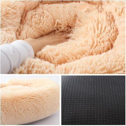 Fluffy Dog Bed Cushion - Apricot, 50x50cm - Detail