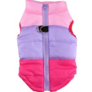 Dog Waterproof Coat - Pink and Purple striped pattern