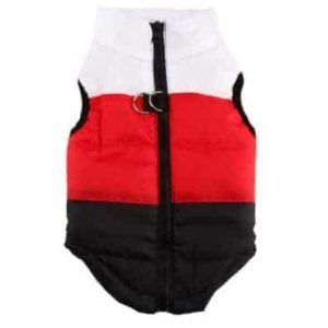 Dog Waterproof Coat - Red, white and black striped pattern