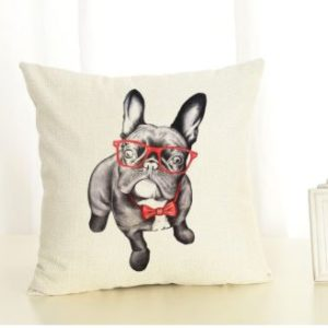 Bulldog in Glasses Fun Cushion Cover