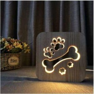 Dog Lover's Bone Carved Design LED Lamp In Use
