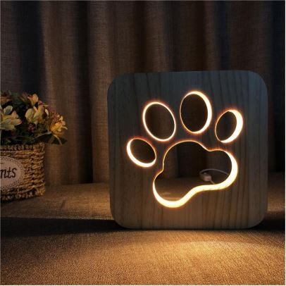 Dog Lover's Paw Print Carved Design LED Lamp In Use