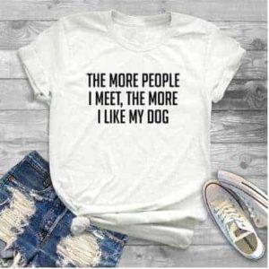 'The more people I meet, the more I like my dog' slogan T-Shirt - White - Detail