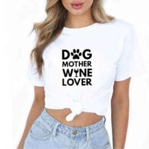 'Dog Mother, Wine Lover' slogan T-Shirt - White - In Use