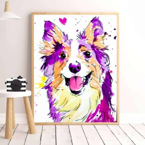 Colourful Dog Print Artwork - 20x30cm, Purple