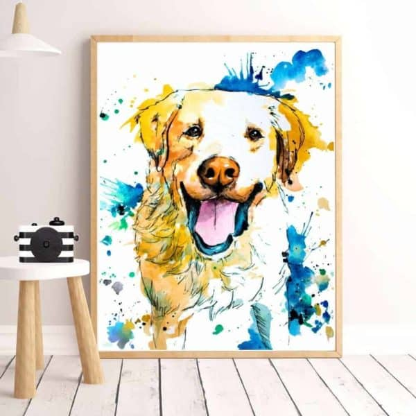 Colourful Dog Print Artwork - 20x30cm, Yellow