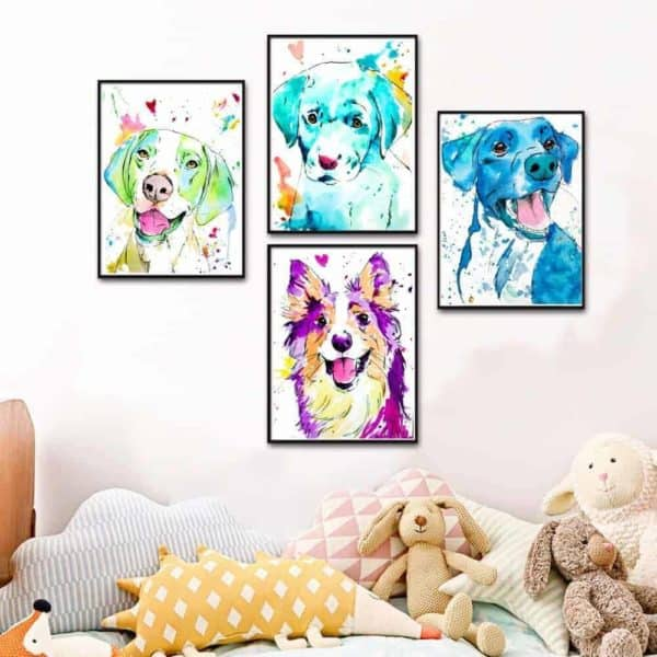 Colourful Dog Print Artwork - 20x30cm, Various