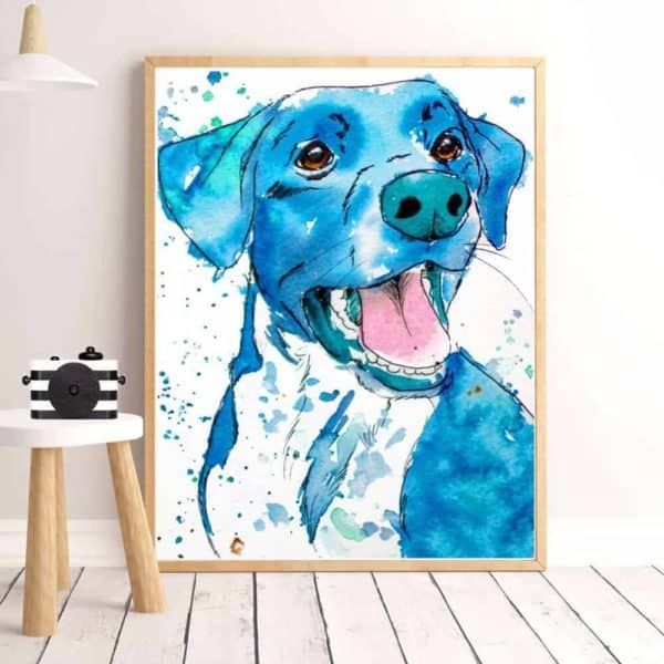Colourful Dog Print Artwork - 20x30cm, Dark Blue