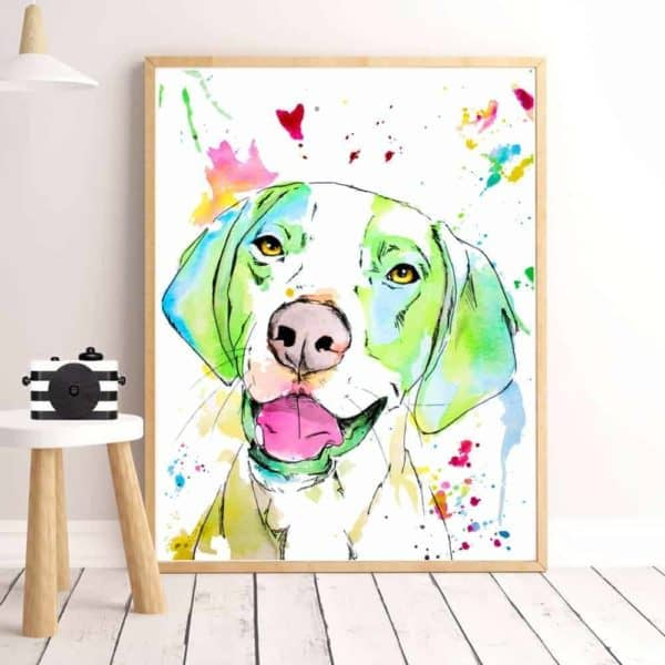 Colourful Dog Print Artwork - 20x30cm, Green