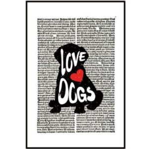 'Love Dogs' Silhouette Artwork Print - 20x30cm