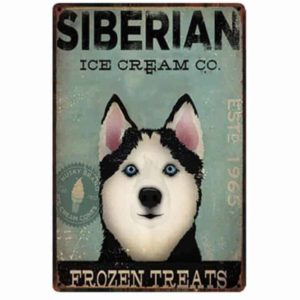 Siberian Husky Ice-cream Tin Sign